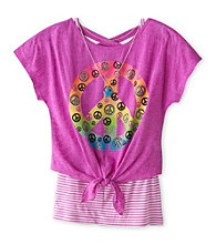 Beautees Girls' 7-16 Neon Purple Burnout Peace Sign Top