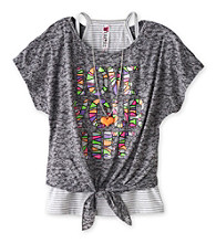 Beautees Girls' 7-16 Grey Burnout Love Your Life Top