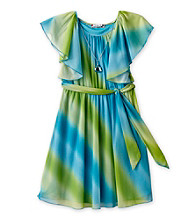 Speechless® Girls' 7-16 Aqua Dipdye Flutter Sleeve Dress with Belt