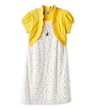 Speechless® Girls' 7-16 Yellow Foil Dot Eyelash Dress with Shrug