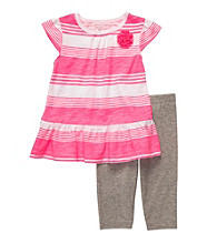 Carter's® Girls' 2T-4T Pink/Grey Heather 2-pc. Striped Leggings Set