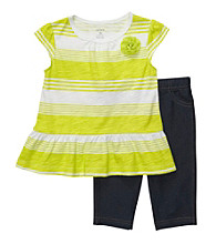 Carter's® Girls' 2T-4T Lime Green 2-pc. Striped Jegging Set