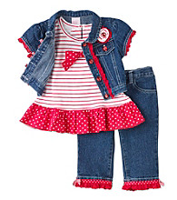 Nannette® Girls' 2T-6X Red/Denim 3-pc. Jacket Set