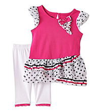 Nannette® Girls' 2T-6X Pink/White Polka-Dot Leggings Set