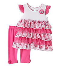Nannette® Girls; 2T-4T Pink/White Floral Leggings Set