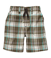 Carter's® Boys' 2T-7 Brown/Turquoise Plaid Pull On Shorts