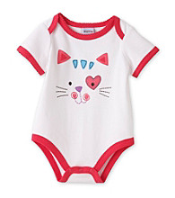 Cuddle Bear® Baby Girls' White Kitty Face Attitude Bodysuit