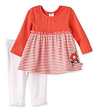 Cuddle Bear® Baby Girls' Coral/White 2-pc. Tunic and Leggings Set