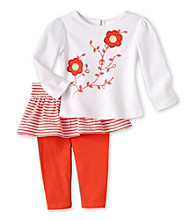 Cuddle Bear® Baby Girls' White/Coral 2-pc. Embellished Top and Skegging Set