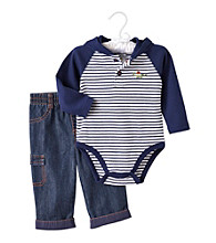 Cuddle Bear® Baby Boys' Navy Striped 2-pc. Hooded Henley Set