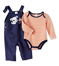 Cuddle Bear® Baby Boys' Navy/Orange 2-pc. Striped Overall Set
