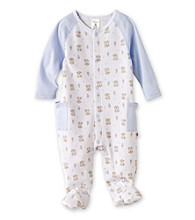Cuddle Bear® Baby Boys' White Bear Print Raglan Footed Coverall