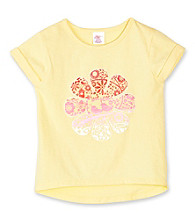 Little Miss Attitude Girls' 2T-6X Yellow Peace Love Tee