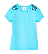 Miss Attitude Girls' 7-16 Sequin Shoulder Tee