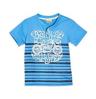 Ruff Hewn Boys' 2T-7 Blue Lotus Short Sleeve Graphic Henely
