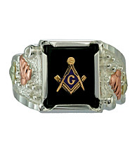 Sterling Silver Onyx with Masonic Emblem Ring