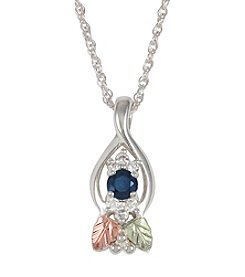 Black Hills Gold Sterling Silver Sapphire and Diamond Pendant