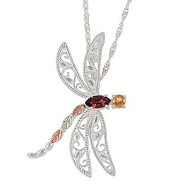 Black Hills Gold Sterling Silver and Gemstone Dragonfly Pendant