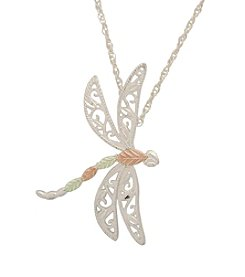 Black Hills Gold Sterling Silver and Gold Dragonfly Pendant