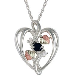Black Hills Gold Sterling Silver Onyx and Cubic Zirconia  Heart Pendant