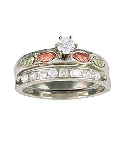Black Hills Gold Sterling Silver Cubic Zirconia Bridal Set
