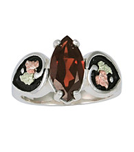Black Hills Gold Sterling Silver Antiqued Garnet Ring
