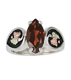 Black Hills Gold Sterling Silver Antiqued Garnet Ring