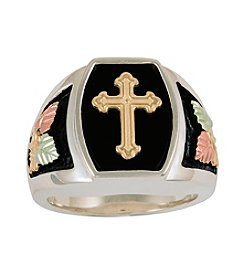 Black Hills Gold Sterling Silver Onyx Cross Ring