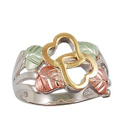 Black Hills Gold Sterling Silver Double Heart Ring