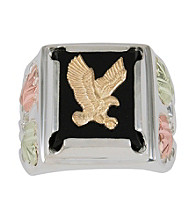 Black Hills Gold Sterling Silver Onyx Eagle Ring