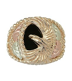 Black Hills Gold 10k Sterling Silver Onyx Eagle Ring