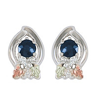 Black Hills Gold Sterling Silver Sapphire and Diamond Earrings