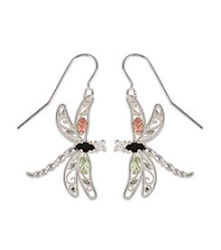 Black Hills Gold Sterling Silver Gemstone Dragonfly Earrings