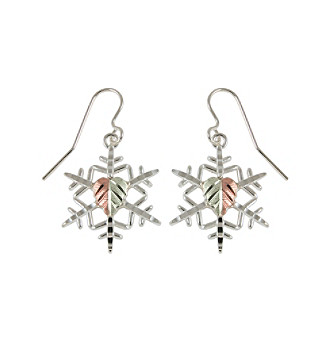 Black Hills Gold Sterling Silver Snowflake Earrings