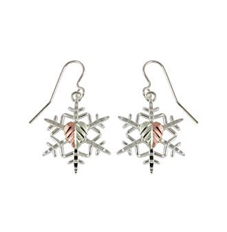 Black Hills Gold Sterling Silver Snowflake Earrings