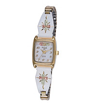 Ladies' White Powdercoated Cross Watch with Black Hills Gold Accents