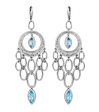 Sterling Silver Rhodium Blue Topaz Lever Back Earrings