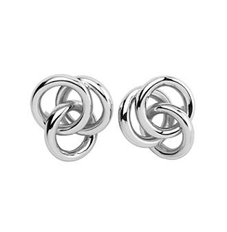 Sterling Silver Rhodium Twist Knot Post Earrings
