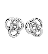 Sterling Silver Rhodium Twist Knot Post Earrings
