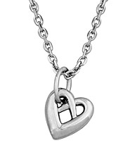 Rhodium Sterling Silver Heart Necklace