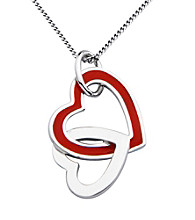 Rhodium Sterling Silver Necklace With Red Epoxy Heart Pendant
