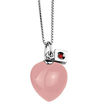Rhodium Sterling Silver Solid Light Rose Quartz Heart Necklace
