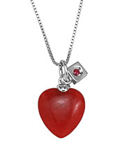 Rhodium Sterling Silver Dyed Red Jade Heart Necklace