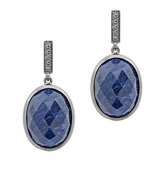Oval Drop Earrings, Genuine Rough Cut Sapphire, 22.0 CTTW, Sterling Silver