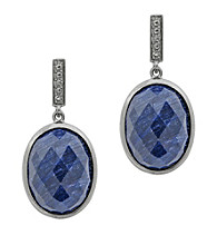 Oval Drop Earrings, Genuine Rough Cut Sapphire, 22.0 CTTW, Sterling Silver