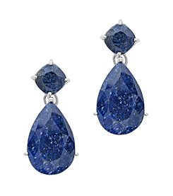 Cushion Cut and Pear Shapped Drop Earrings, Genuine Rough Cut Sapphire, 27.0 c.t. tw