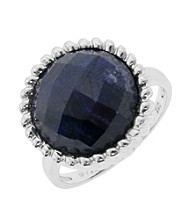 Round Framed Genuine Rough Cut Sapphire Ring, 10.0 CTTW