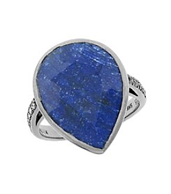 Pear Shaped Genuine Rough Cut Sapphire Ring, 14.5 CTTW, .015 Diamond Accent