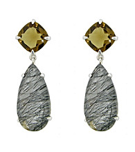 Long Pear Shaped Drop Earrings with Black and Beer Quartz
