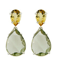 Drop Pear Shaped Earrings of Citrine & Green Amethyst
